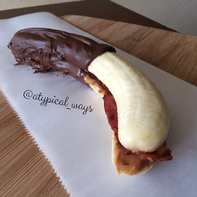 Bacon & Peanut Butter stuffed Banana dipped in Chocolate!