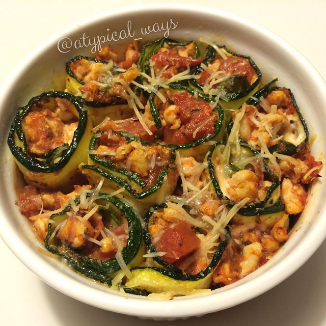 Baked Zucchini Roll ups stuffed with ground turkey, basil & fresh mozzarella! 230cal/13carb/7fat/25pro