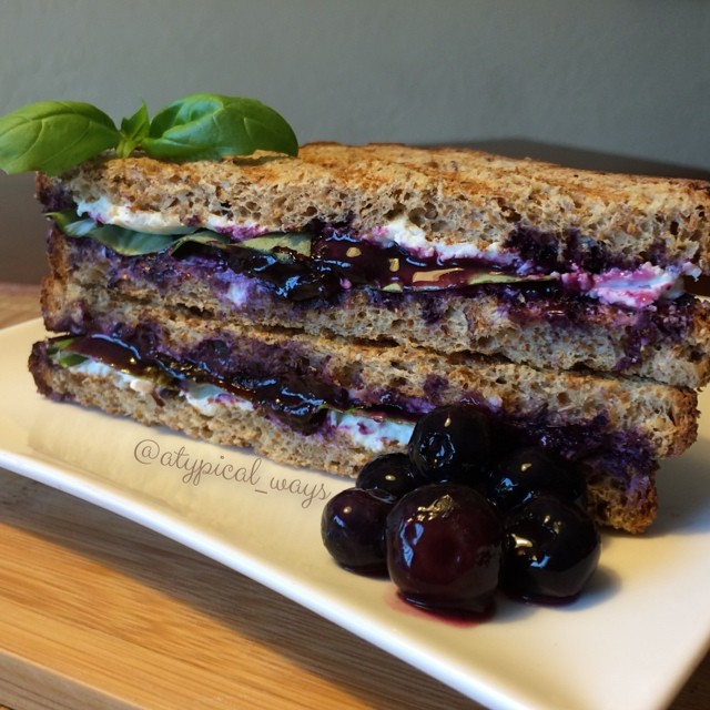 Blueberry, Basil & Goat Cheese Panini!