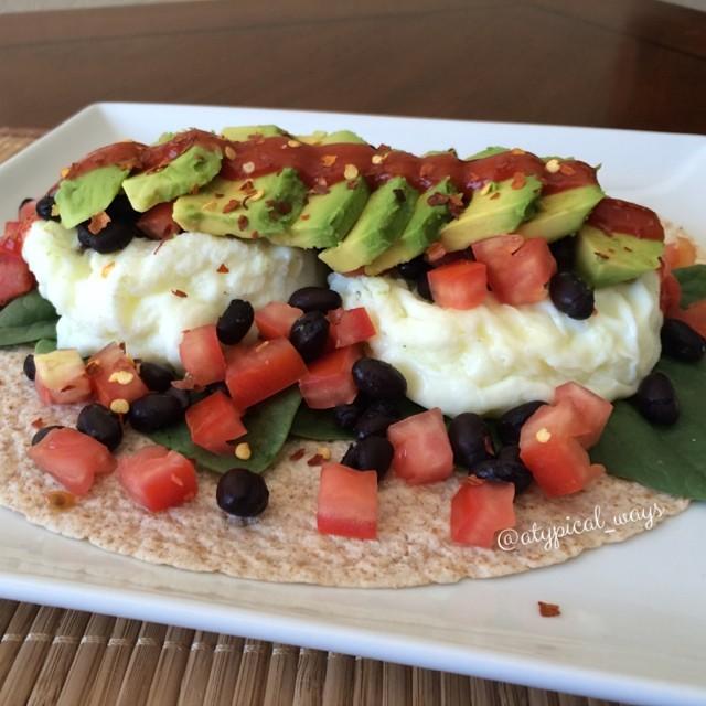 Breakfast Burrito - Spinach, egg whites, tomatoes, black beans, avocado & salsa. 330cal/29carb/9fat/31pro