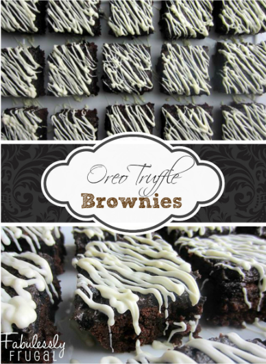 Oreo Truffle Brownies by Fabulessly Frugal
