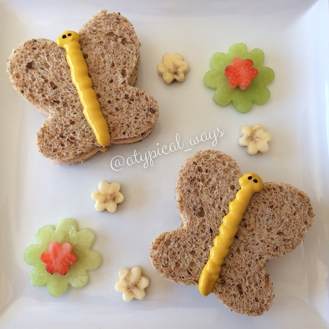 Butterfly Turkey sandwiches & fruit flowers!