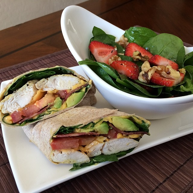 California Club Wrap & Strawberry Walnut Spinach Salad - 375cal/30carb/13fat/37pro