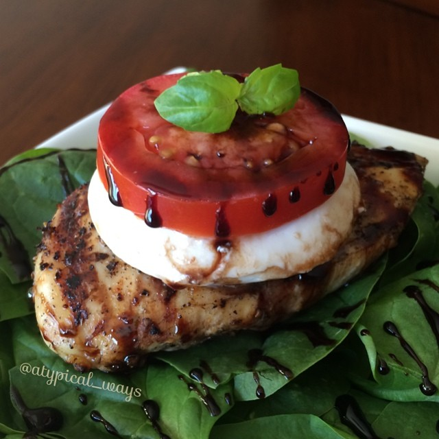 Grilled Caprese Chicken Salad with a Balsamic reduction - 315 calories!