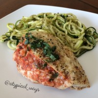 Stuffed Chicken Parmesan with pesto zucchini noodles! Quick, Simple & Low Carb with only 320 calories! Ready in less than 30 minutes.