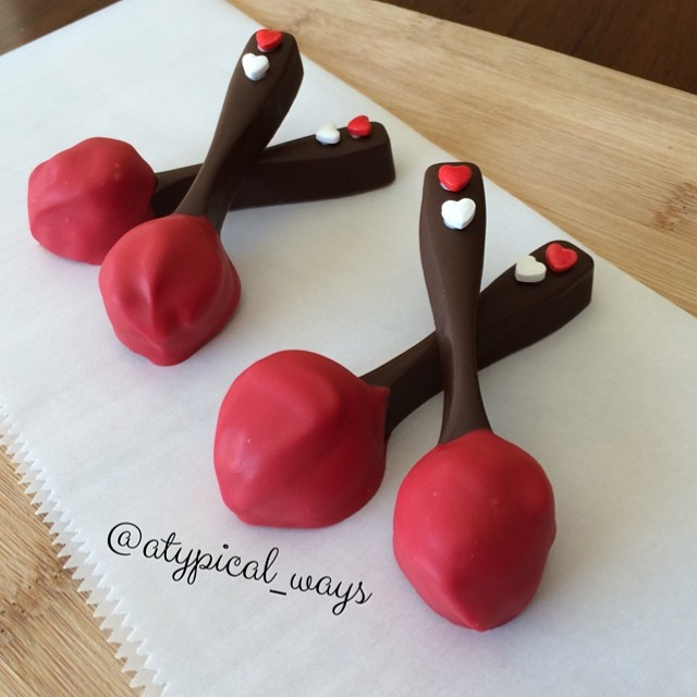 Chocolate spoons scooped in Peanut Butter & dipped in more Chocolate!