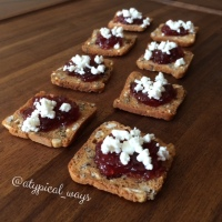 Fig with Goat cheese on a Cranberry Oat multigrain crisp!