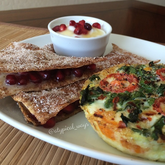 Cinnamon & Sugar french toast style Quesadilla stuffed with Pomegranate seeds & Brie served with a Vanilla & Honey whipped dip and Vegetable Frittata! Yum 400cal/31carb/12fat/37pro