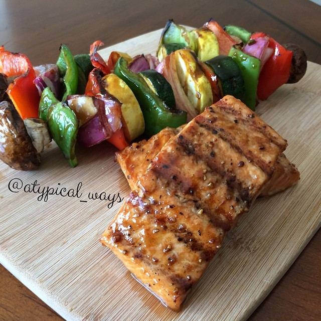 Quick & Simple Grilled Salmon & Vegetables! So easy, my kid could make this!