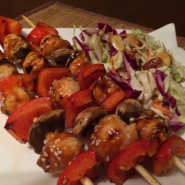 Hoisin Chicken Skewers with Red Bell Pepper & White ...