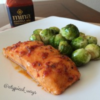 Honey & Harissa Baked Salmon with Brussel Sprouts!