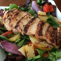 Grilled Jerk Chicken Salad with grilled pineapple & vegetables!