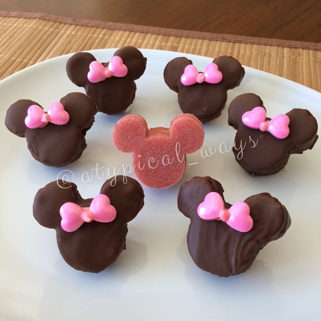 Chocolate covered pink Mini Mouse Pancakes
