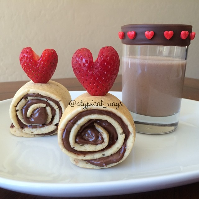 Strawberry & Nutella pancake roll-ups with Chocolate Almond Milk