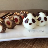 Panda Hardboiled Eggs with some Strawberry & Banana Fruit Sushi