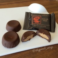 Sugar free Dark Chocolate Peanut Butter Cups with only 175 calories for all 3!
