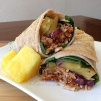 Hawaiian BBQ Chicken wrap with fresh grilled Pineapple, Red Onion & Cheddar Cheese. 325cal/34carb/5fat/35pro