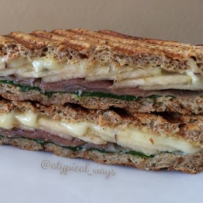 Prosciutto, Apple & Brie Panini! Low carb bread & light brie cheese. 320cal/20carb/12fat/35pro