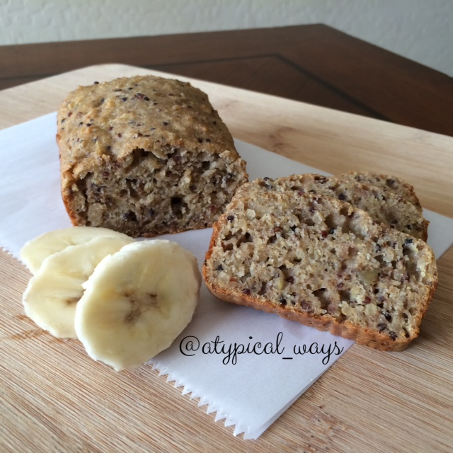 Quinoa Banana Bread - Same recipe as my banana bread quinoa cooks baked in a mini loaf pan at 350 degrees for 30 minutes.