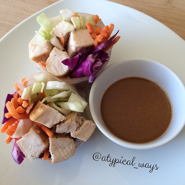 Chinese Chicken Spring Rolls with a spicy Peanut Sauce for dipping!