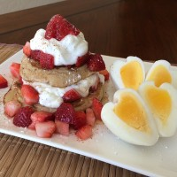 Strawberry Shortcake French Toast English Muffin with hardboiled Eggs