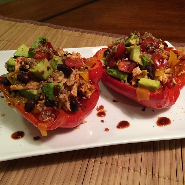 Roasted Red Peppers stuffed with shredded Chipotle Chicken, Quinoa ...