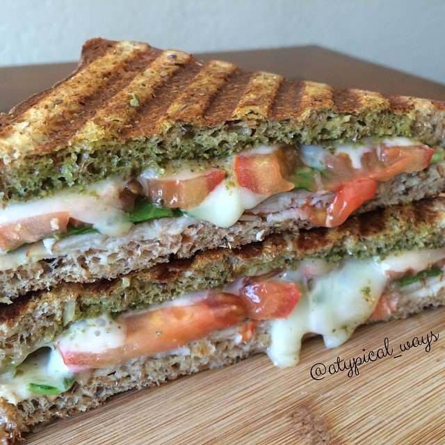 Turkey Pesto Panini - melted cheese makes me happy!