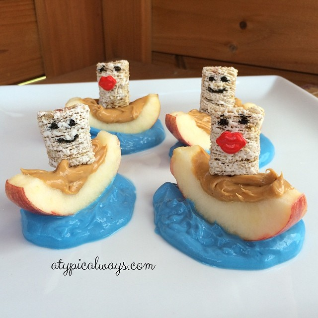 Peanut Butter & Apple Boats with vanilla Greek Yogurt & Frosted Mini Wheats!