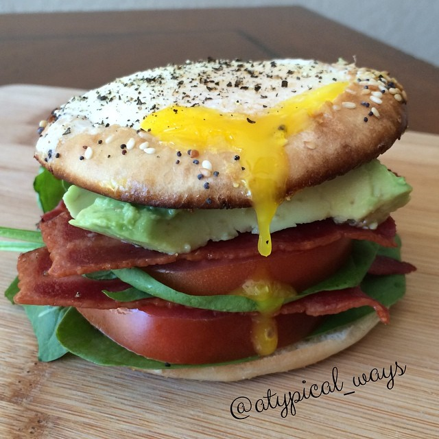 "Quick & Simple ""Egg in a basket' Bagel Breakfast BLTA!"