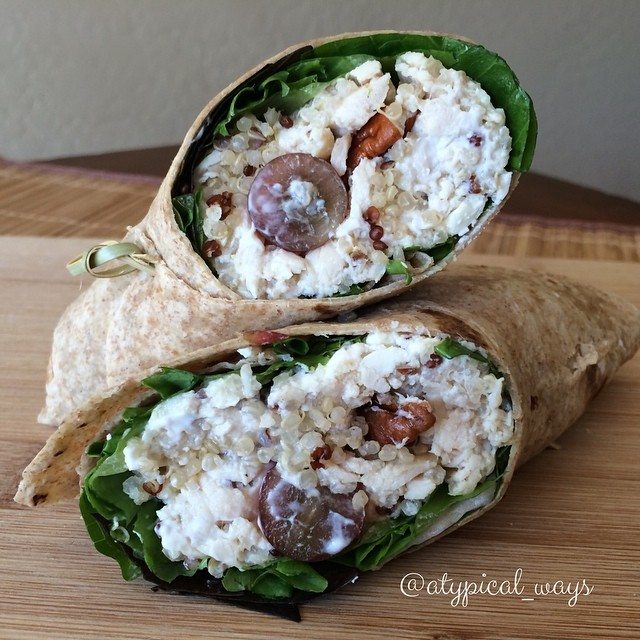 Quick & Simple lightened up Chicken Salad Wrap with Quinoa, Grapes, Pecans & Feta - yummy!