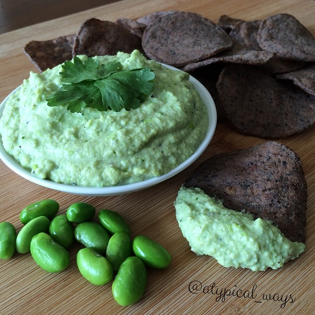 No avocado Guacamole - Edamame Dip! Huge fat reduction with this tasty swap!