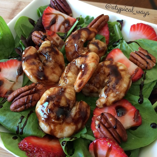 Quick & Simple Balsamic Shrimp & Strawberry Salad!