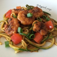 Spicy Sriracha Shrimp & Zucchini Noodles - Quick and Simple!